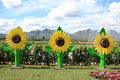 Sunflower Statues On Artificial Grass Royalty Free Stock Photo