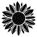 Sunflower vector illustration in black color Royalty Free Stock Photo