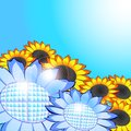 Sunflowers – solar panels, eco energy concept Stock Image