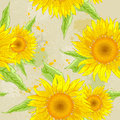 Sunflowers background vector floral seamless pattern with yellow Royalty Free Stock Photos