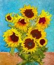 Sunflowers digital art stylised like impressionism painting Royalty Free Stock Photos