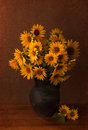 Sunflowers in old clay pot still life beautiful Royalty Free Stock Photos