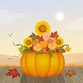 Sunflowers in the pumpkin