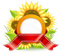 Sunflowers and ribbon Royalty Free Stock Image