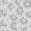 Sunflowers seamless background black and white hand drawing vector illustration Stock Images