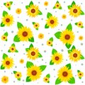 Sunflowers seamless background with bright yellow Royalty Free Stock Photo