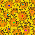 Sunflowers seamless pattern illustration of yellow Royalty Free Stock Photography