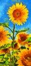 Sunflowers.Van Gogh style imitation