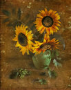 Sunflowers in a vase, a still-life. Royalty Free Stock Photo