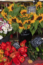 Sunflowers and vegetables for sale at a market in provence aix en Stock Image