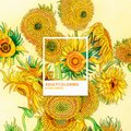 Sunflowers 1889 by Vincent van Gogh: adult coloring page Royalty Free Stock Photo