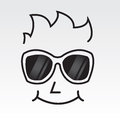 Sunglasses face outline mans wearing Royalty Free Stock Photography
