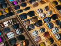 Sunglasses Fashion display in wooden box Shop summer Lifestyle Royalty Free Stock Photo