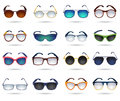 Sunglasses fashion reflection mirror icons set