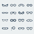 Sunglasses and glasses icons vector flat design symbols isolated on white Royalty Free Stock Photo