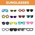 Sunglasses Icon Set Vector. Summer Beach Sunglasses Icons Silhouette. Elegance Wear. Sun Protection. Line, Flat