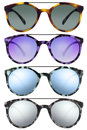 Sunglasses isolated on white in various colors Royalty Free Stock Photo
