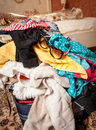 Sunglasses lying on unpacked suitcase closeup photo of Royalty Free Stock Image