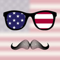 Sunglasses and mustaches american flag Royalty Free Stock Photo