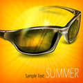 Sunglasses with reflection on yellow summer tropical island vector illustration Royalty Free Stock Images