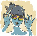 Sunglasses retro girl beautiful summer portrait with rainbow hand drawn illustration Royalty Free Stock Images