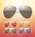 Sunglasses vector icons on colorful background Stock Photo