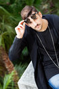 Sunglasses. Young gorgeous young man. Royalty Free Stock Photo