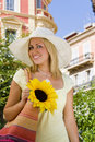Sunhat and Sunflower Royalty Free Stock Photo