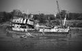 Sunk fishing boat in black and white tone Royalty Free Stock Photography