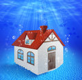 Sunk underwater house with bubbles Royalty Free Stock Photos