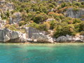 Sunken city of kekova in turkey Royalty Free Stock Images