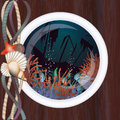 Sunken ship in porthole vector illustration Stock Images