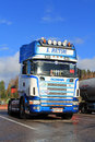 Sunlight on blue and white scania truck in autumn salo finland october parked october salo finland scanias new fuel saving Stock Photo