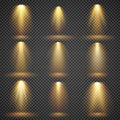 Sunlight glowing, yellow lights glow vector effects set