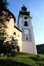 Slnečné svetlo na staré mesto Banská Štiavnica