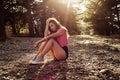 Sunlight portrait of young beautiful and elegant stylish girl Royalty Free Stock Photo