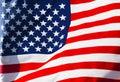 Sunlit American Flag In Wind