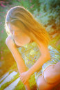 Sunlit beautiful girl Royalty Free Stock Image