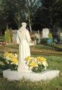 Sunlit gravestone ornate and flowers lit by sunlight Stock Image