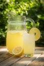Sunlit jug and glass of fresh Corsican lemonade in garden