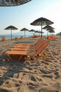 Sunloungers in a row sun loungers on the beach Royalty Free Stock Photography