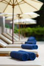 Sunloungers and Towels Royalty Free Stock Photography
