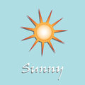 Sunny abstract colorful background with sun symbol and the text written with white letters weather symbol Royalty Free Stock Photos