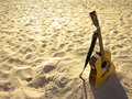 Sunny Beach Acoustic Guitar Royalty Free Stock Image