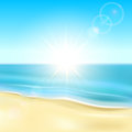 Sunny beach background with sandy and the sea illustration Royalty Free Stock Image