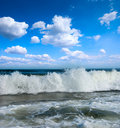 Sunny beach on coast of atlantic ocean Royalty Free Stock Images