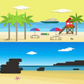 Sunny Beach for Summer Vocation.Flat Style Vector Illustration Royalty Free Stock Photo