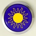 Sunny button means hot weather o sole Immagine Stock Libera da Diritti
