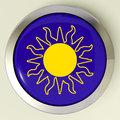 Sunny button means hot weather or sunshine meaning Royalty Free Stock Image