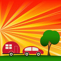 Sunny Caravaning Royalty Free Stock Photos